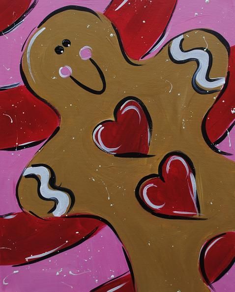 Christmas Paintings For Kids On Canvas.Gingerbread Painting Perfect For Christmas Sip Stroke