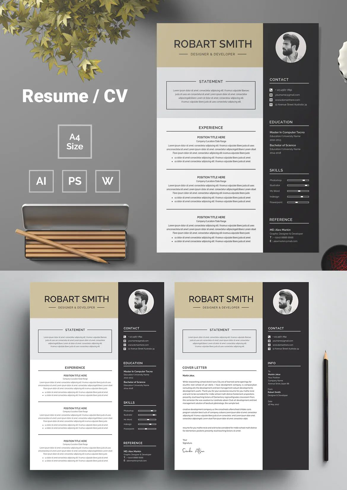 Resume Template AI, EPS, PSD in 2020 Downloadable resume