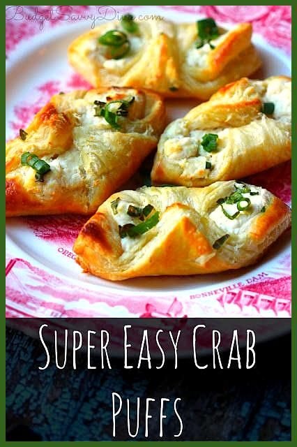 SUPER EASY CRAB PUFFS RECIPE  INGREDIENTS 1 sheet of puff pastry dough thawed 6 oz cream cheese lig