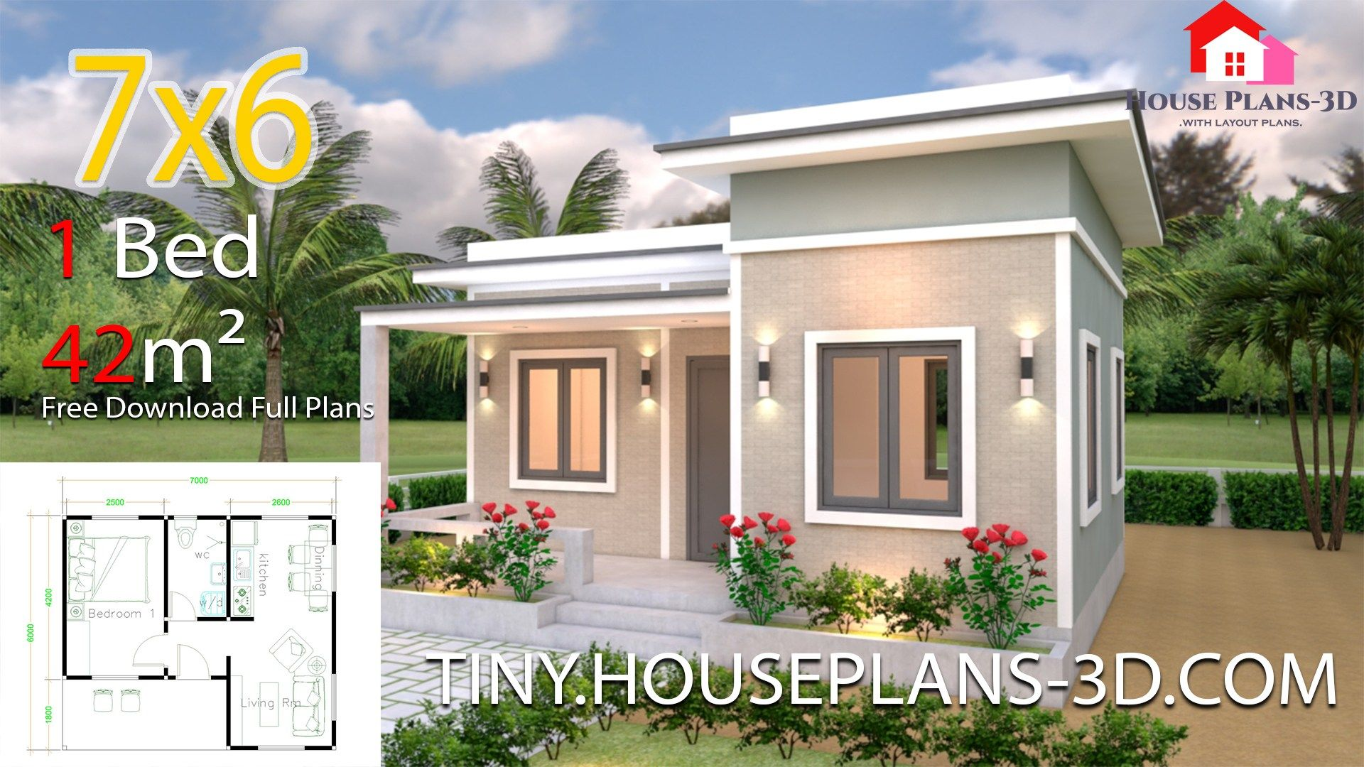Tiny House Plans 7x6 With One Bedroom Flat Roofthe House Has Car Parking And Garden Living Small House Design Plans One Bedroom House Plans One Bedroom House
