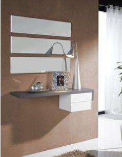 meuble dentre moderne miroirs gloria coloris blanc et gris cendr