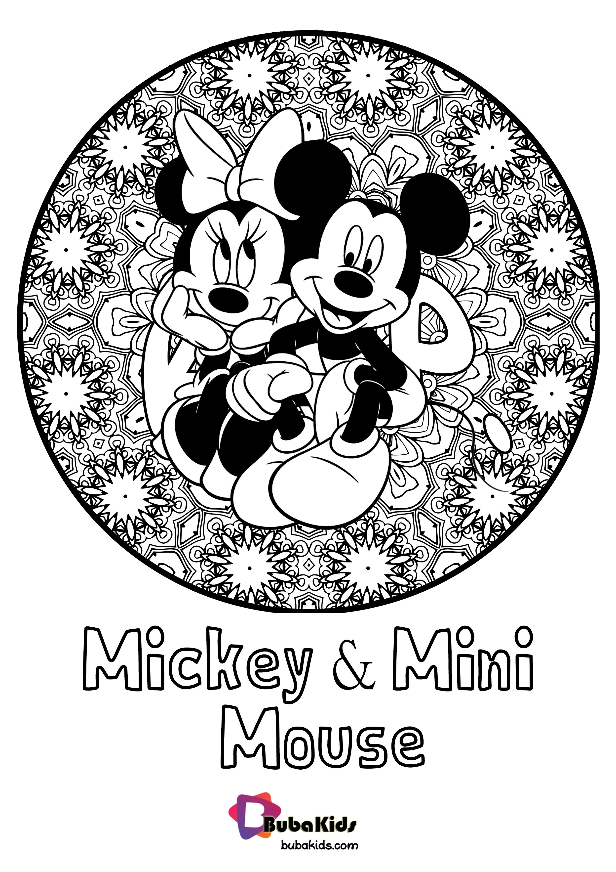 Mickey And Mini Mouse Floral Coloring Pages