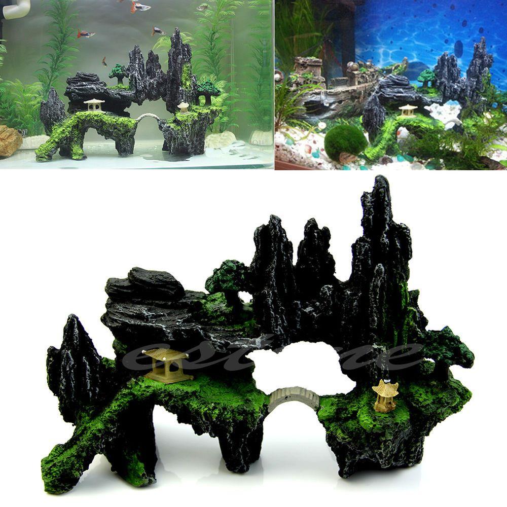 Aquarium tree house mountain view cave bridge fish tank for Aquarium bridge decoration