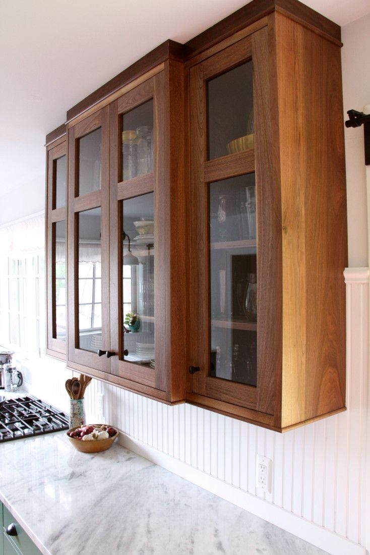 Solid walnut upper cabinet Glass Front shaker style middle rail ...