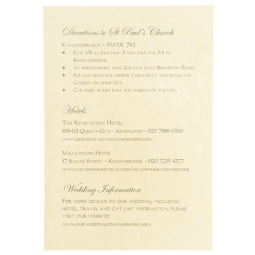 Information Sheet For Wedding Invitation