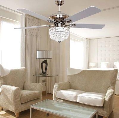 European minimalist fashion fan ceiling fan light LED crystal ...