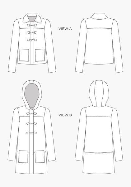 Digital Cascade Duffle Coat Sewing Pattern | Shop | Oliver   S ...