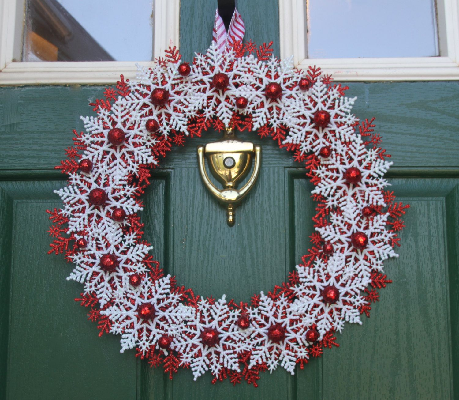 Christmas Snowflake Wreath Candy Cane Wreath Red and White