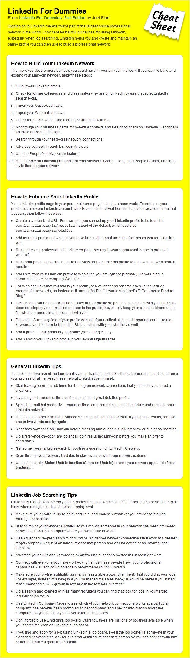 LinkedIn Cheat Sheet For Dummies Cheat sheets, Job info