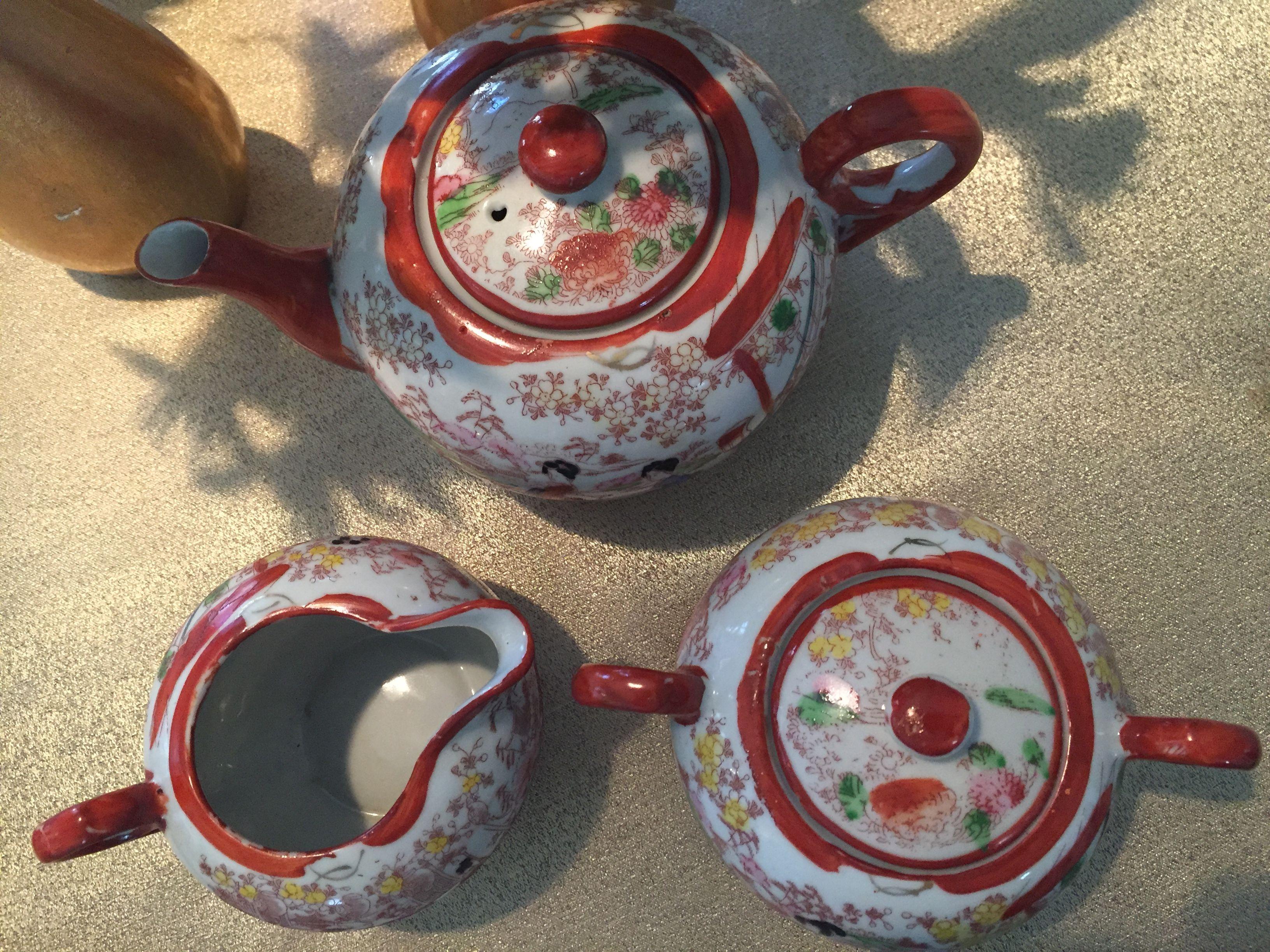 Vintage Geisha Girl teapot, sugar and creamer. 50 Tea