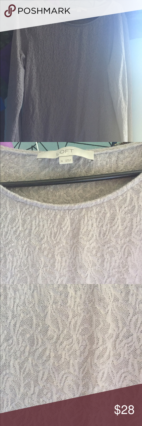 LOFT taupe XL long sleeved lace top Beautiful lace taupe XL Loft long sleeved top, great for work or under a suit LOFT Tops Blouses