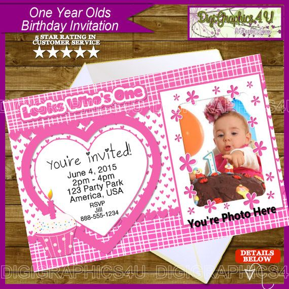 One year old birthday girl printable invitation by digigraphics4u one year old birthday girl printable invitation by digigraphics4u firstbirthday first 1st filmwisefo