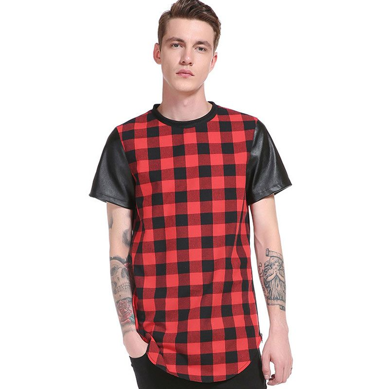>> Click to Buy << 2017 Short PU Leather Sleeve Men T Shirt Plaid T-shirt Long Length O-neck Tshirt Homme Slim Fit T Shirt men Camisetas Hombre #Affiliate