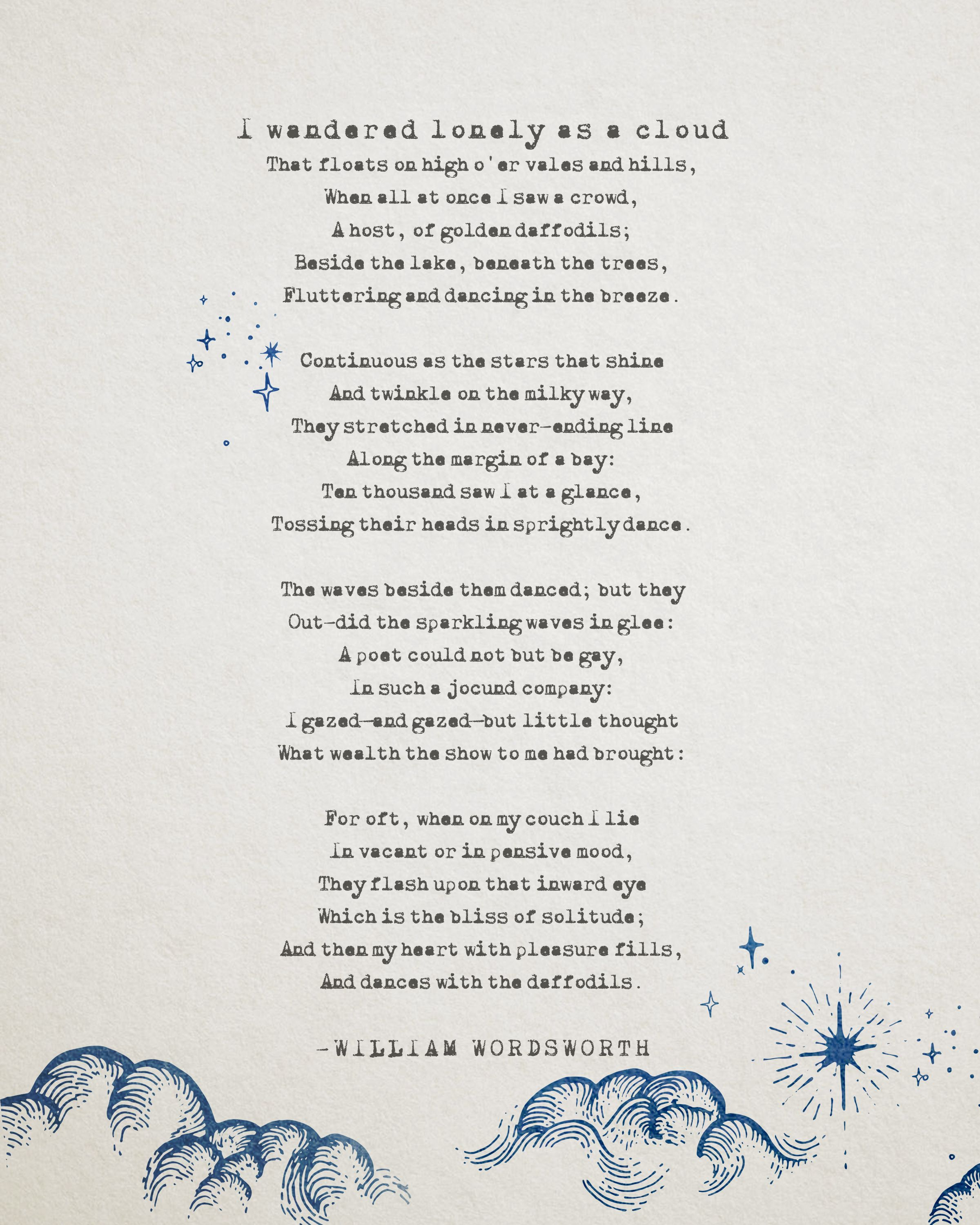 I Wandered A Lonely Cloud Poetry Art William Wordsworth Etsy Quotes Poem Analysis Analysi