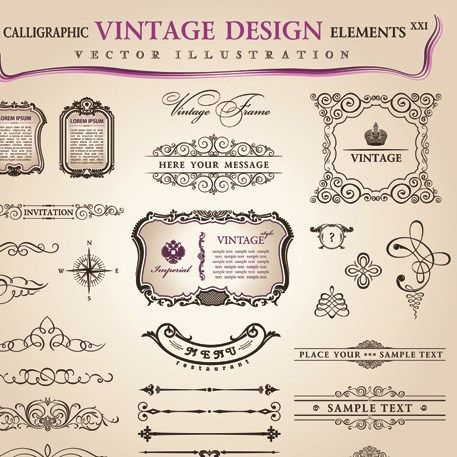 set of calligraphic vintage borders and label vector 09 projects