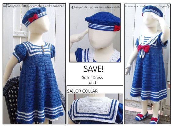 Thursday Handmade Love Week 67 Theme: Sailor Includes links to #free #crochet patterns  2in1 - Sailor Crochet Dress Pattern included the Collar Pattern. Special price for both - Instant Download Pdfs via Etsy