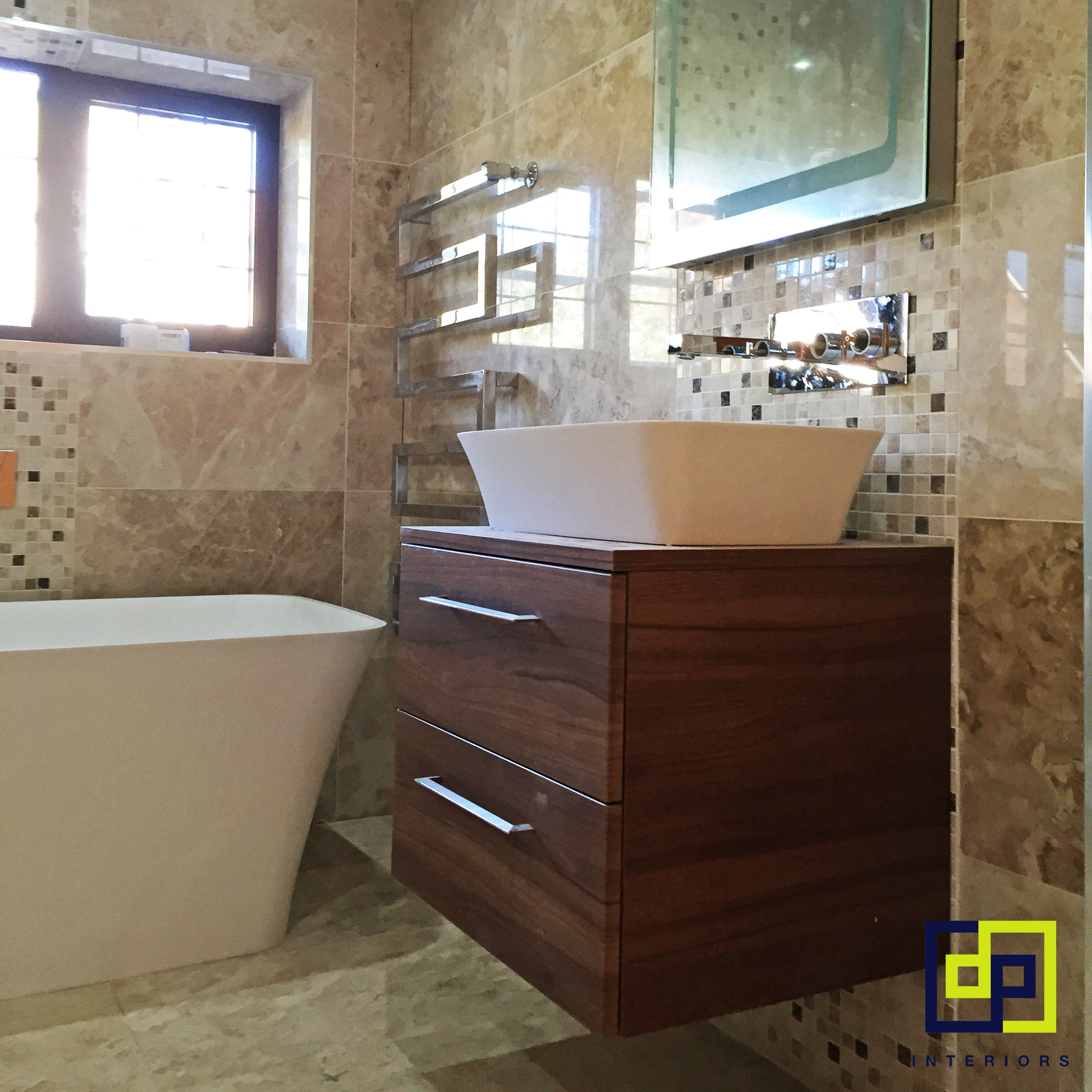 Minimalist gloss white vanity unit 600 800 or 1000mm - Gloss Beige Tiles With Mosaics With Walnut Vanity Unit Sit On Basin