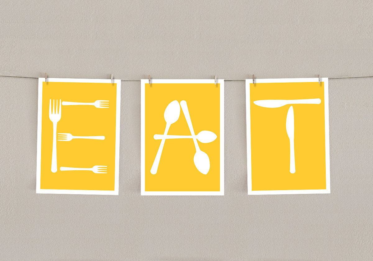 Kitchen Art Print - Yellow Decor - Eat Letters with Fork, Knife and ...