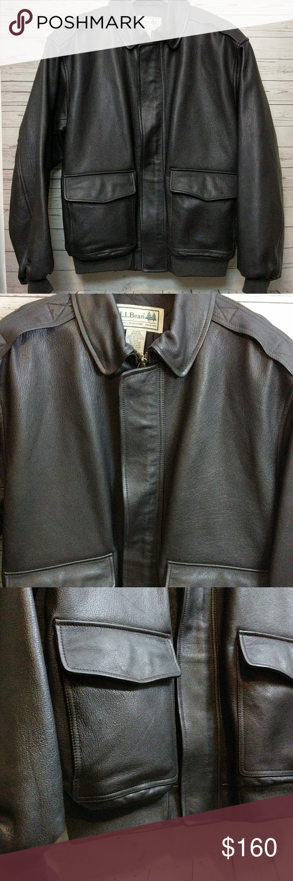 bbe06f3c1 Vintage LL Bean Leather Bomber Jacket Classic Coat This Vintage LL ...