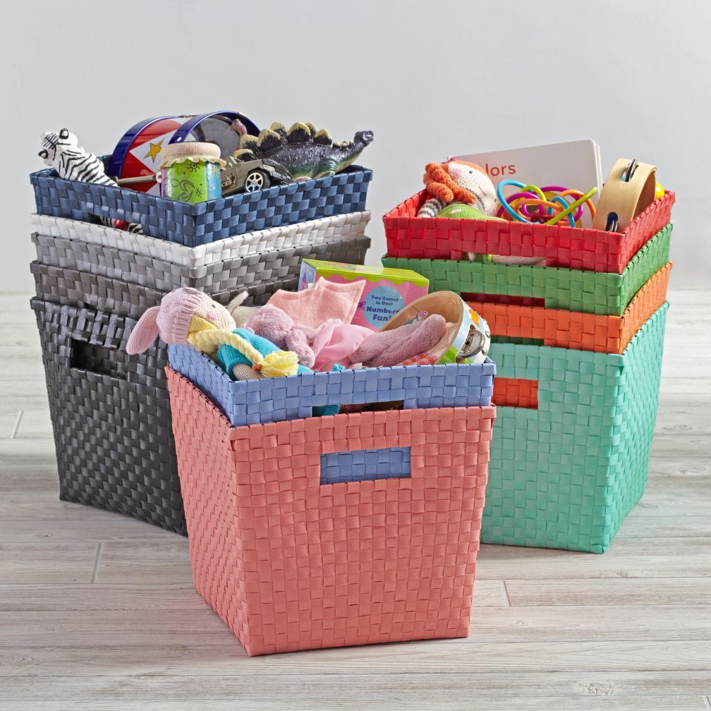 Shop Kidsu0027 Storage Containers: Kids Canvas Cube Storage Bin. Our Kids  Storage Bins Are Hand Woven Of Our Heavy Duty Resin Straps And Have Cutout  Handle For ...