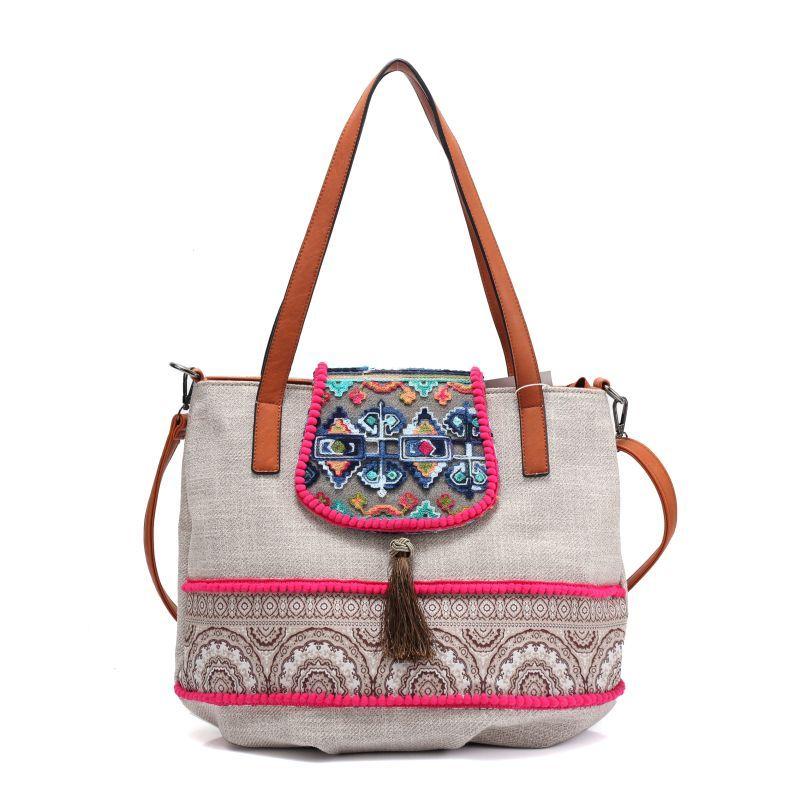 women Bohemian style vintage Fabric straw handbag beading bag shoulder bag  Boho Cotton Bag national ethnic b8519ff953aa5