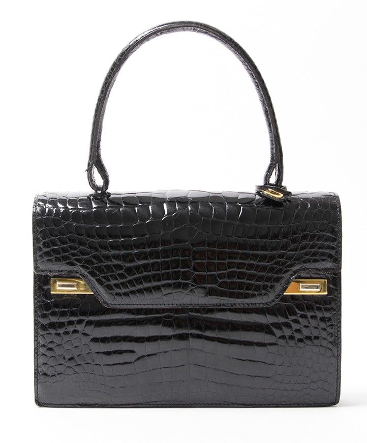 5ebf68ba57d0 buy safe online second hand designer vintage delvaux croco top handle bag  best price second hand designer vintage