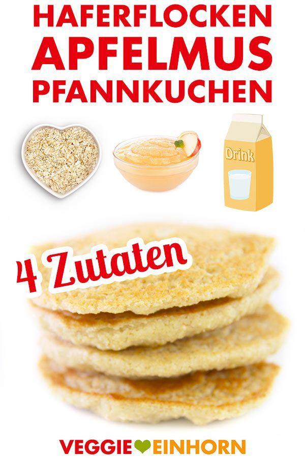 Vegane Pancakes mit Apfelmus und Haferflocken | Einfach und gesund | Mit Video