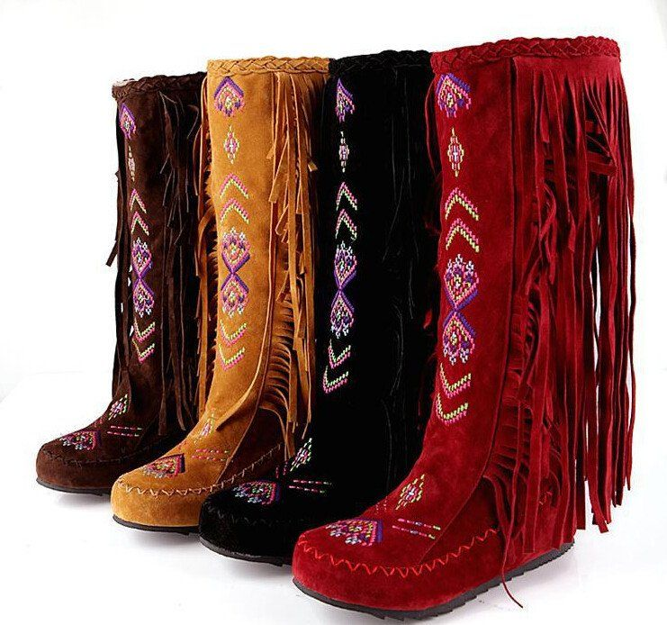 0d0209d8f25 Native American Moccasin Boots - Knee High Fringe Winter Fashion ...