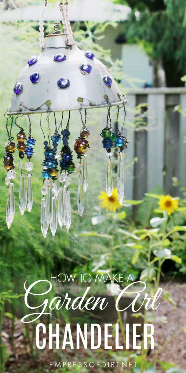 Make a garden art chandelier using some old household junk