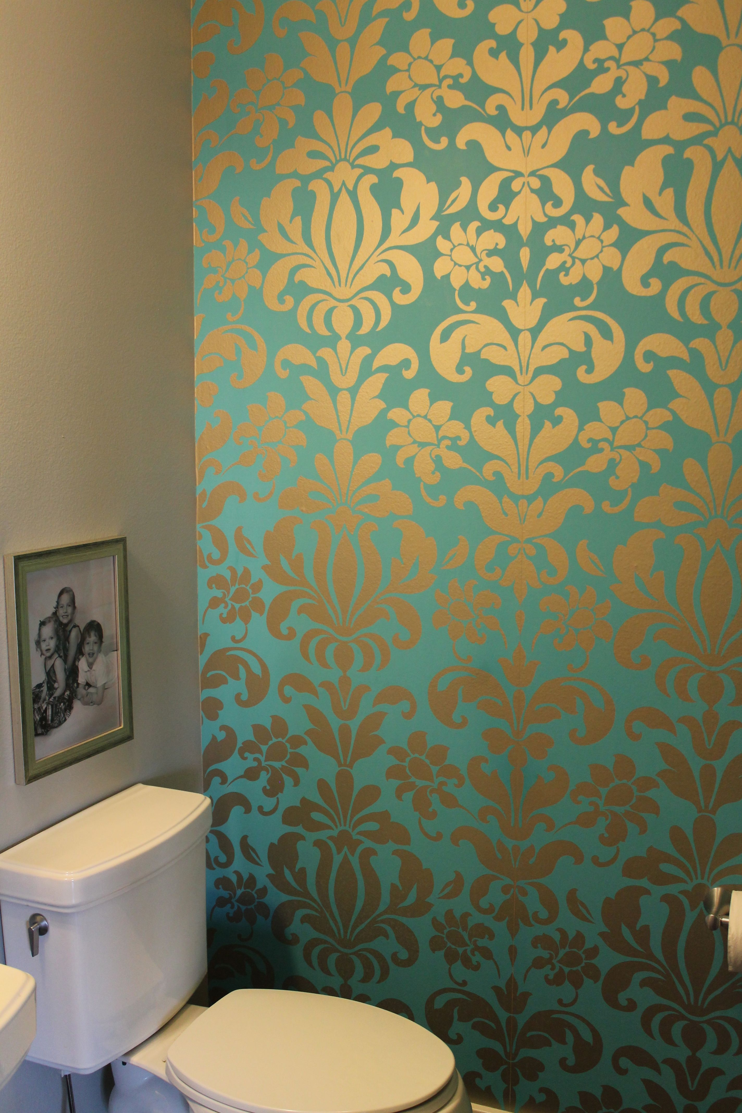 Teal and silver damask wallpaper Two years later and I still love