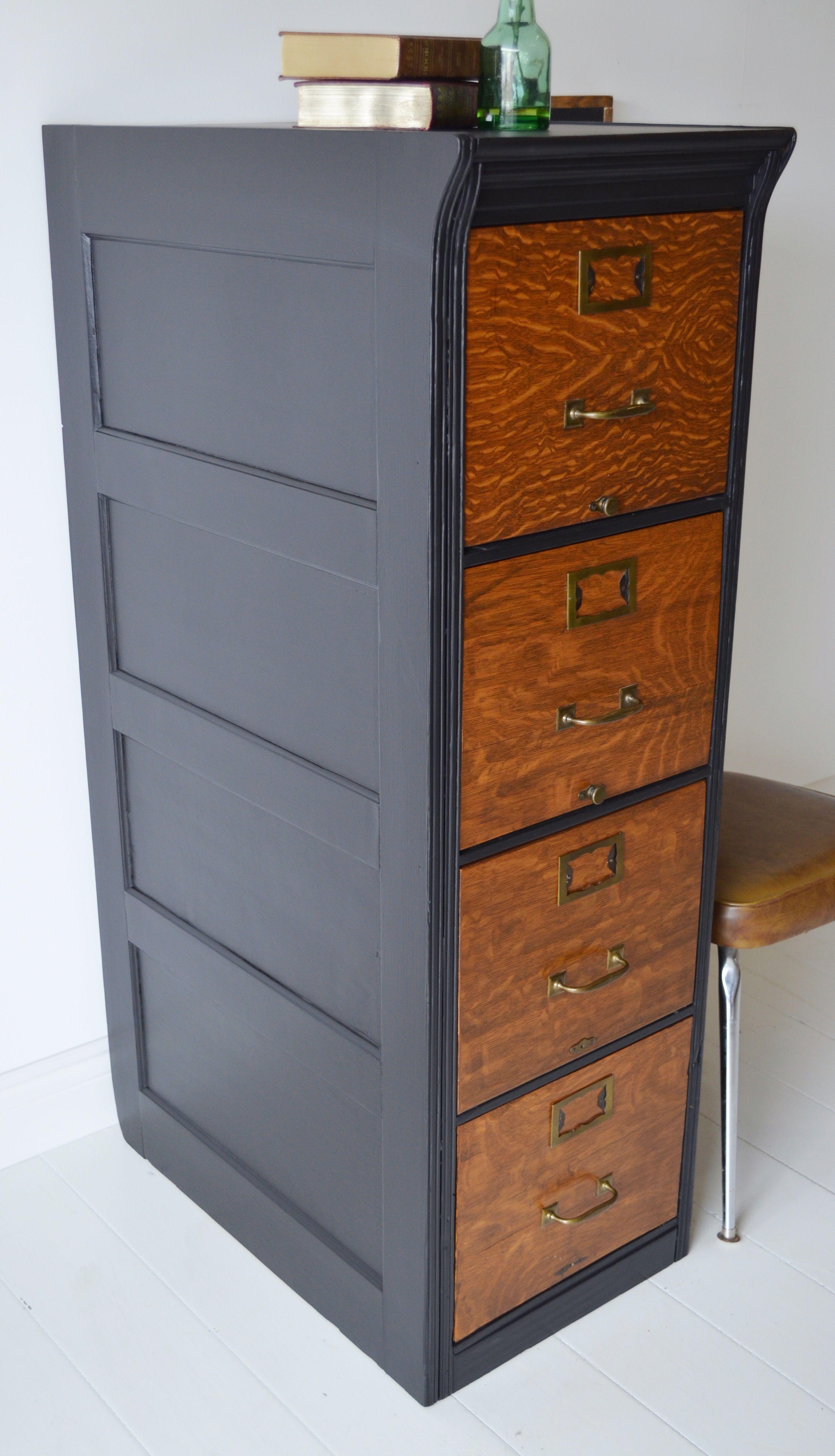 Antique Wood Filing Cabinet