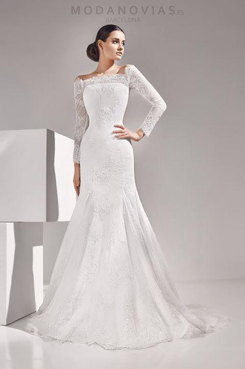 Vestido de novia ADAL en color marfil de encaje rebrodé con mangas ...