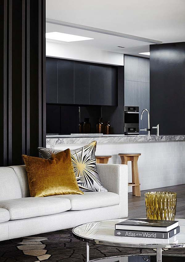 Exquisite Transformation Of A Chic Home In Melbourne Kitchen LivingLiving Room