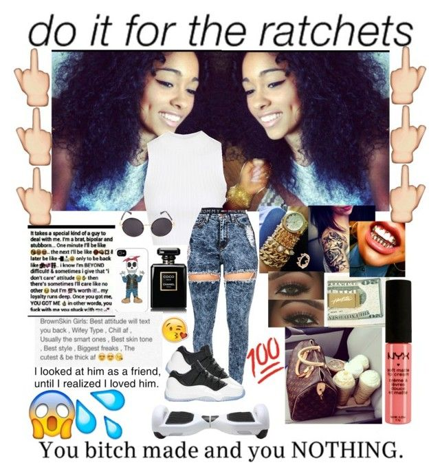 """Do it for the Ratchets"" by queencalii ❤ liked on Polyvore featuring Topshop, Retrò, Tommy Hilfiger, Aéropostale, Linda Farrow, Chanel, Tribes, Prada, Amrapali and NYX"