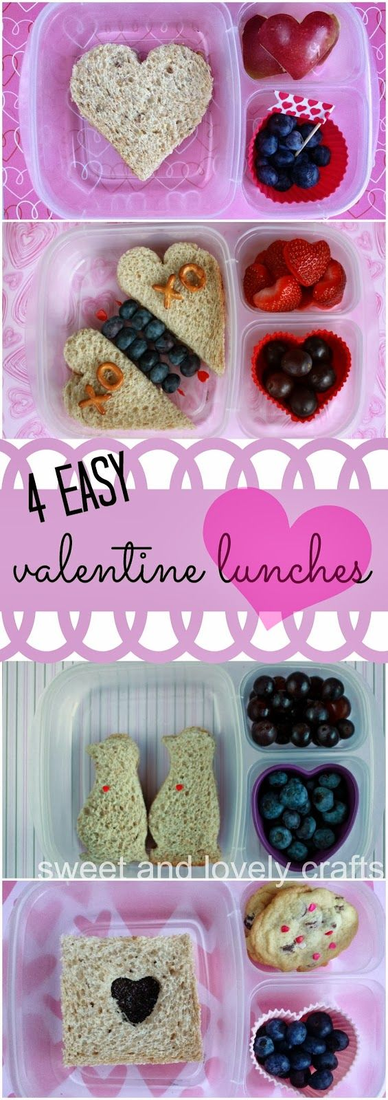 4 EASY Valentine's Lunchbox Ideas | packed in @EasyLunchboxes containers