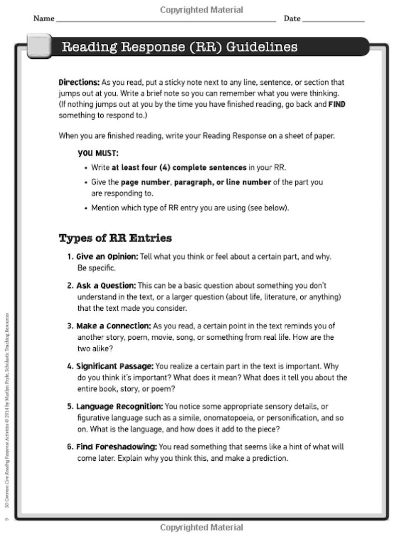 5 Reading Response Activities to Invite Higher Thinking   Reading response  worksheets [ 1074 x 800 Pixel ]