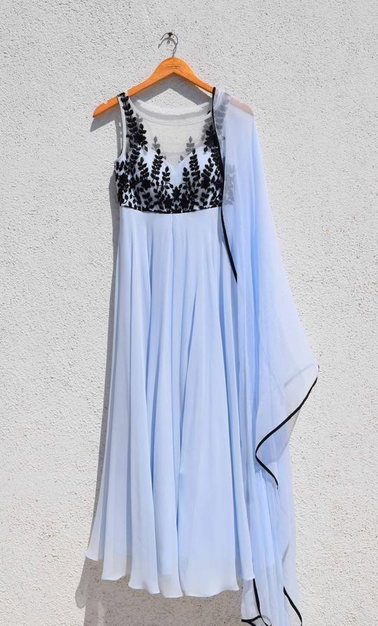 Powder Blue & Black Anarkali #indiandesignerwear