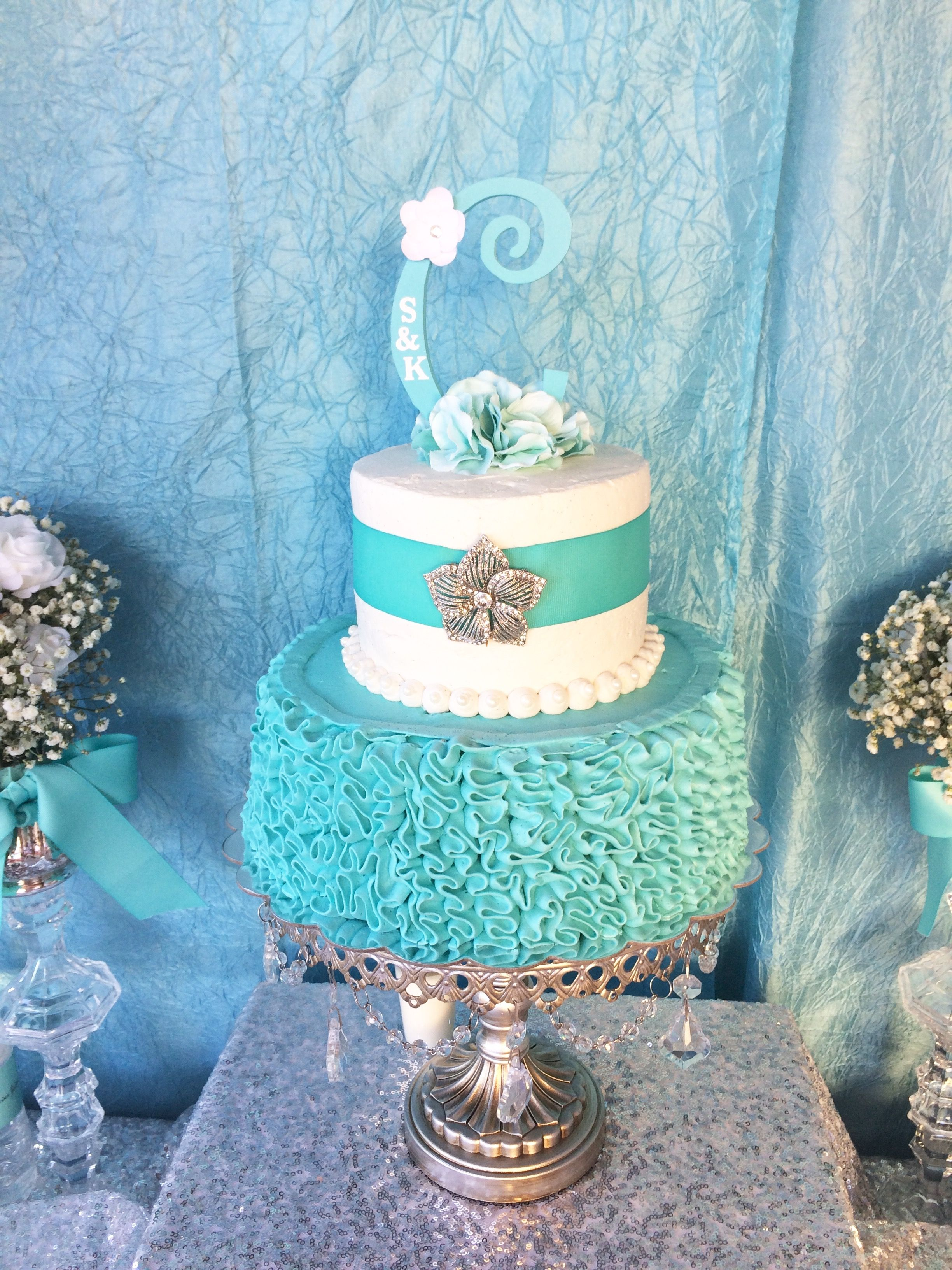 shabby chic bridal shower cakes%0A Our Messy Ruffled Buttercream twotier Tiffany inspired bridal shower cake   tiffanyblue  bridalshower
