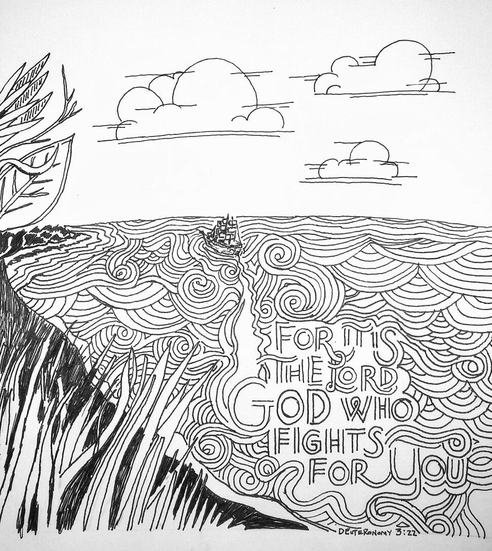 Setting Out For A New Shore Deuteronomy 3 22 30daysofbiblelettering Verseart Oneperday T Bible Coloring Pages Bible Verse Coloring Scripture Coloring