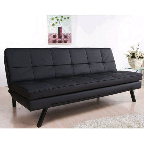 Arcadia Black Leather Double Cushion Convertible Sofa - AD ...