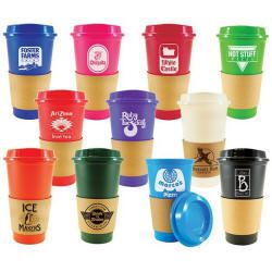 """16oz. stackable plastic tumbler with drink thru lid and brown paper sleeve grip. • Hot or cold liquids. • Actual size is 5-3/4""""h. (print cup or sleeve)  homelandfundraising.com/Grande%20Double%20Wall%20Tumblers.htm"""