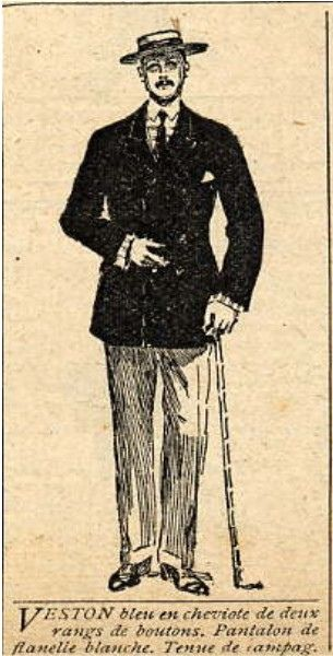 1910 men's fashion blue jacket and white flannel trousers