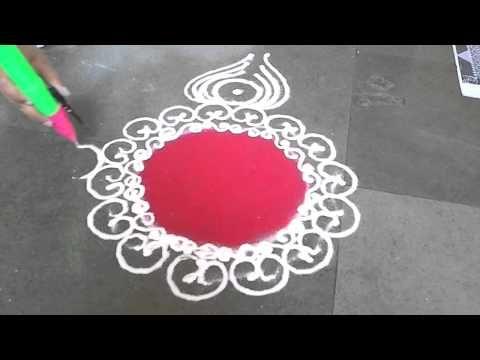 Simple Sanskar Bharti Rangoli Design For Diwali