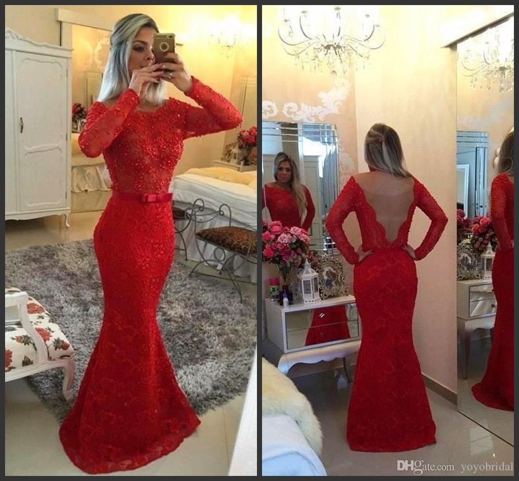 Beaded prom dresses long mermaid evening wear long sleeve backless