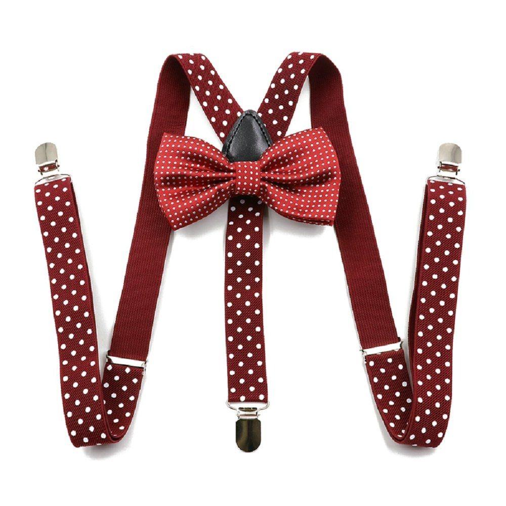 Adjustable polka dot suspenders set suspender bow tie