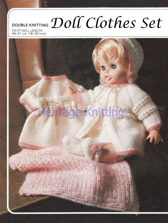 doll clothes outfit 4 ply knitting pattern 99p