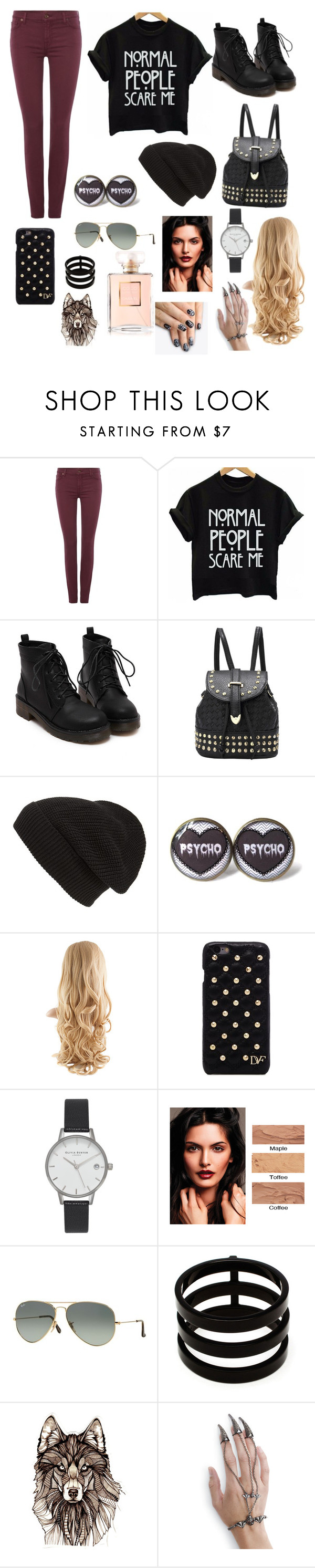 """""""Untitled #129"""" by emmajean239 ❤ liked on Polyvore featuring 7 For All Mankind, Phase 3, Diane Von Furstenberg, Olivia Burton, Ray-Ban, Repossi and alfa.K"""