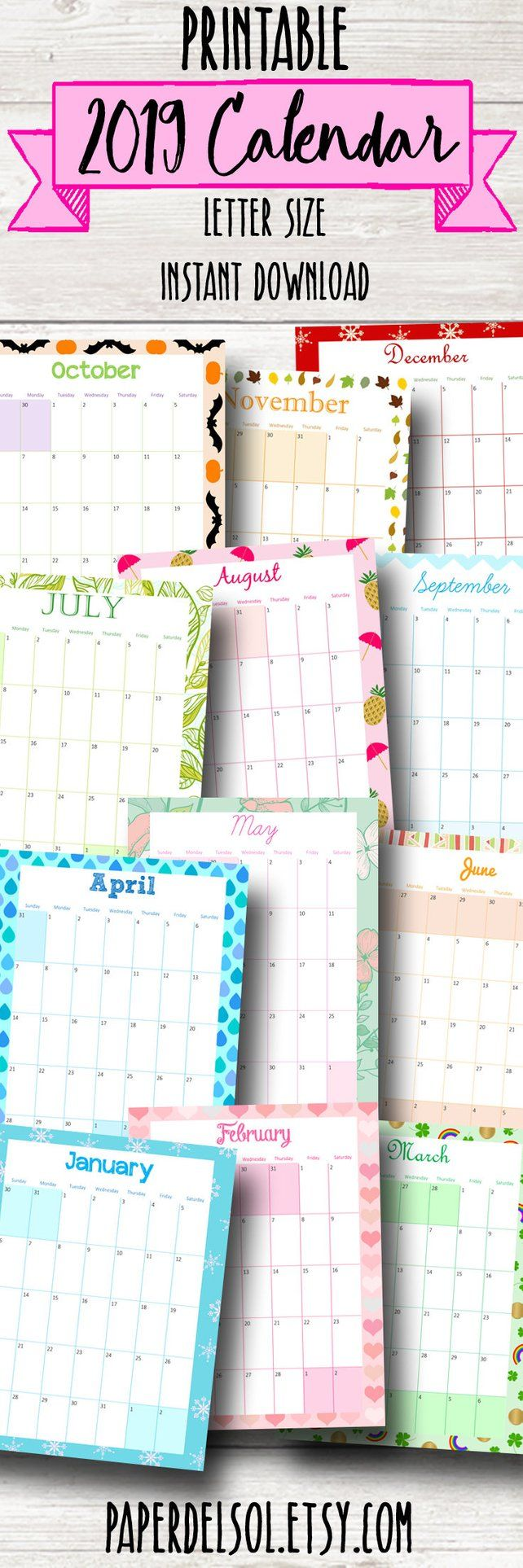 Themed Printable Calendar 2019 Monthly Planner 2019 Wall Calendar