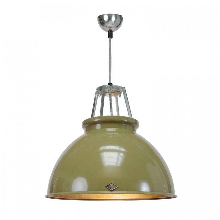 Original BTC Titan Size 3 Pendant Lamp-Olive Green with Bronze Interior | FP033G/BR | £287.00