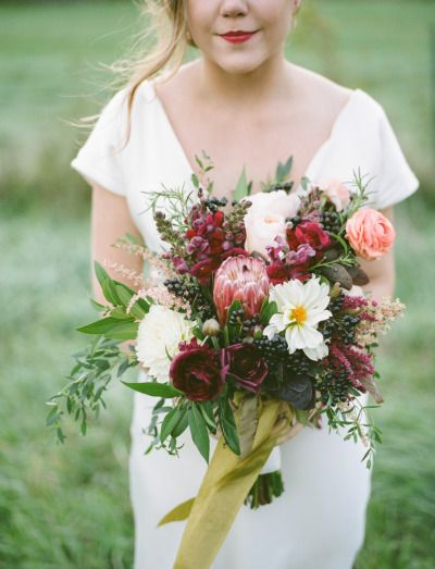 Rich berry hued bouquet: http://www.stylemepretty.com/2015/03/17/fruit-filled-wedding-inspiration/ | Photography: Emily Steffen - http://www.emilysteffen.com/